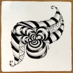 "Zentangle on 3.5"" Sq white tile"